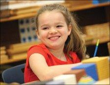 little girl in class - Oak Meadow School, Littleton, MA