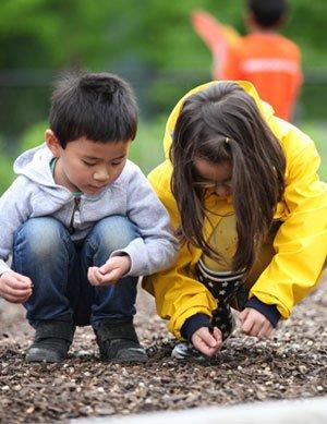 boy and girl picking up sticks